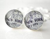 New York City Map Cufflinks - vintage black and white map - wedding day keepsake engagement- groomsmen, groom