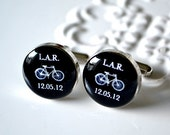 Bike Monogram and Date Cufflinks - Stainless Steel Black and White Bicycle Initial Personalized Cuff Links