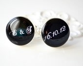 Script initial and date cufflinks by White Truffle - wedding day keepsake gift groom and groomsmen