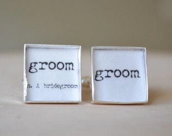 Vintage print Groom definition word cufflinks