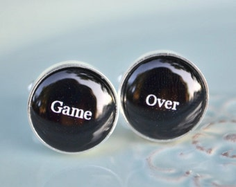 Game Over cufflinks - funny groom gift keepsake