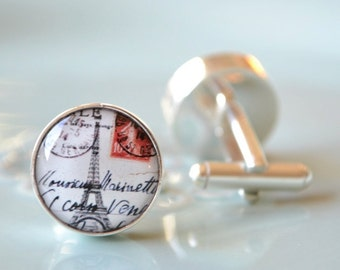 Eiffel Tower postcard cufflinks, timeless mens jewelry keepsake gift, classic cuff link accessories (J010)
