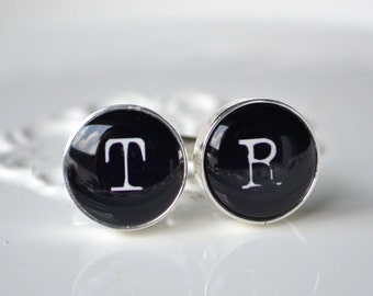 2 x sets Personalized typewriter font initial cufflinks, timeless mens jewelry keepsake gift, classic cuff link accessories