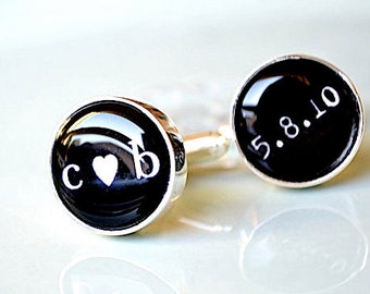 Little heart you me and date cufflinks -  black and white heirloom keepsake - gift for him