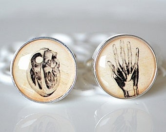 Heart in hand, human body anatomy cufflinks, timeless mens jewelry keepsake gift, classic cuff link accessories
