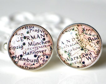 Vintage Germany Map Cufflinks, timeless mens jewelry keepsake gift, classic cuff link accessories