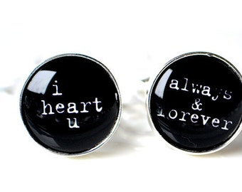 I heart you, forever and always cufflinks - Wedding day accessories for the groom
