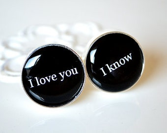 Mens cufflinks I love you I know cuff links inspired by star wars heirloom accessories gift handcrafted in the USA
