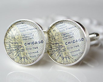 EXPRESS RUSH Chicago Map Cufflinks -  Keepsake gift for the groom and groomsmen on your wedding day by white truffle