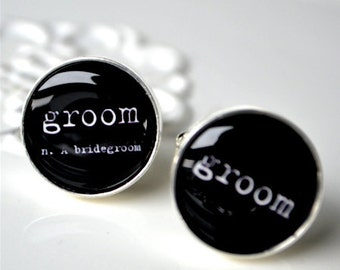 Groom definition cufflinks -  black and white with vintage typewriter print - men wedding accessories handcrafted in the USA