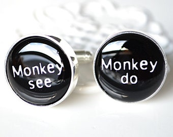 Monkey see monkey do cufflinks, timeless mens jewelry keepsake gift, classic cuff link accessories