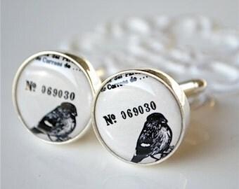 Vintage bird cufflinks - black and white keepsake gift for men, groom, groomsmen, usher, father on wedding day