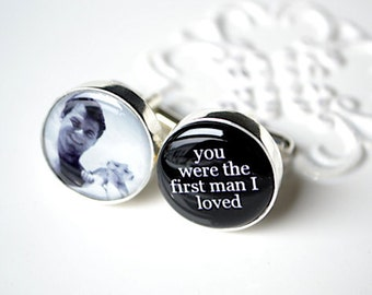 You were the first man I loved and custom photo cufflinks for the Father of Bride, stainless steel mens jewelry cuff link accessories (F001)