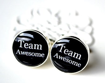 Team Awesome cufflinks - keepsake gift for men, groomsmen, groom or boss