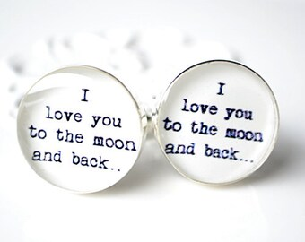 I love you to the moon and back Cufflinks - Vintage typewriter print - wedding day keepsake