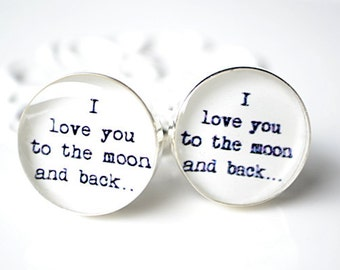 I love you to the moon and back - stainless steel cufflinks by White Truffle Studio