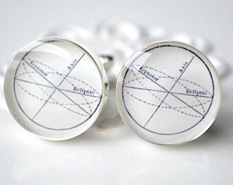 Earth Axis Cufflinks -  Astronomy keepsake geekery jewelry by White Truffle