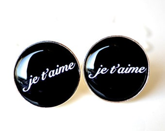 Je t'aime Cufflinks - I love you in French by White Truffle - Wedding day cufflinks for the groom and father fashion