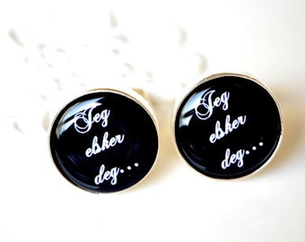 Jeg Elsker Deg Cufflinks - I love you in Norwegian by White Truffle - Wedding day cufflinks for the groom and father fashion