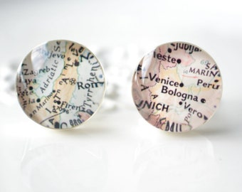 Vintage Venice Italy Map silver Cufflinks - Keepsake gift for wedding day, birthday or fathers day