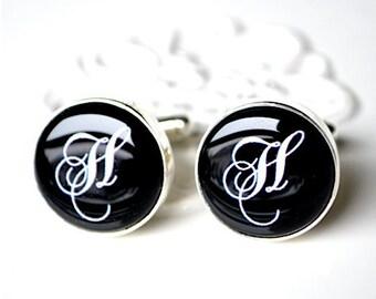 Initial H Cufflinks- personalized keepsake gift for groom, groomsmen, father  - By White Truffle Studio