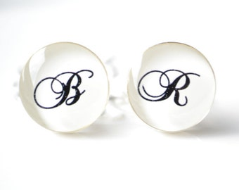 Custom Initial Script Font Cufflinks - personalized keepsake gift for the groom, groomsmen, father  - By White Truffle Studio