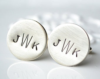 Monogram hand stamp cufflinks by White Truffle Studio - Groom and groomsmen wedding day keepsake gift