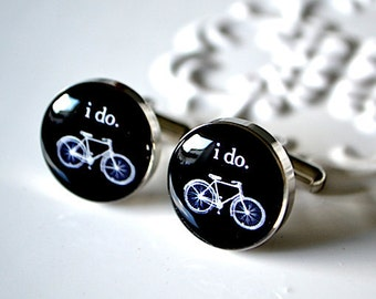 I Do Bike Cufflinks - Stainless Steel Black and White Wedding Bicycle Cuff Links