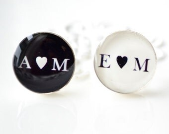 Personalized initials and heart  cufflinks -  black and white heirloom keepsake gift for him on your wedding day