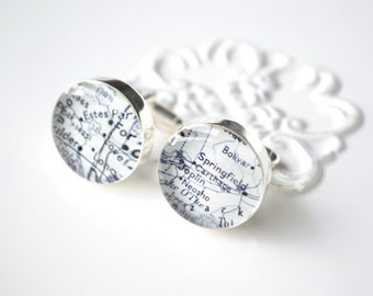 Custom vintage map cufflinks - select your destination - stainless steel metal cuff links for men - gift for him handcrafted in the USA