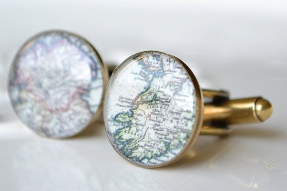 Custom Antique Map Cufflinks - bronze gold - choose one or two locations for your wedding day, anniversary or engagement
