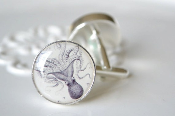 Giant Squid Cufflinks - great gift for him - mythical sea creature