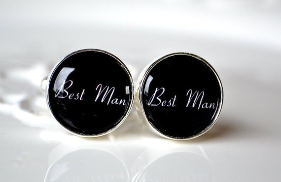 Best Man cufflinks - for him groomsmen - wedding day - style 010