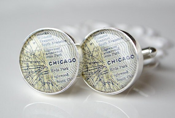 Chicago Map Cufflinks -  Keepsake gift for the groom and groomsmen on your wedding day by white truffle