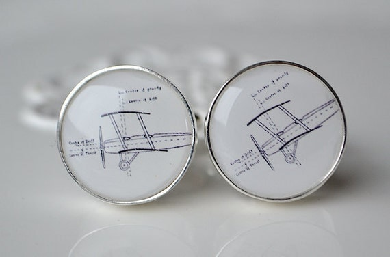 Vintage Airplane Drawing Cufflinks - gift for fathers day birthday or wedding day - by White Truffle