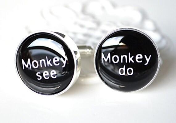 Monkey see monkey do cufflinks, timeless mens jewelry keepsake gift, classic cuff link accessories