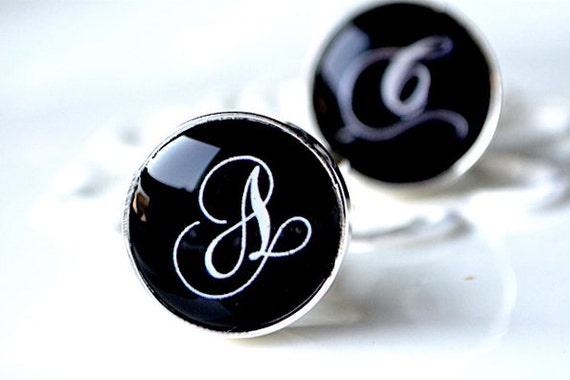 Initial script font cufflinks - personalized keepsake gift for groom, groomsmen, father  - By White Truffle Studio