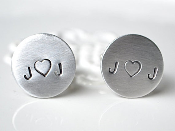 Personalized cufflinks - handmade with custom heart and initial - silver keepsake accessory gift for men