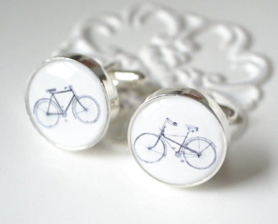 Black Vintage Bike Cufflinks - Stainless Steel Black and White Bicycle Cuff Links