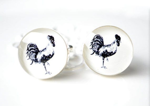 Cock Cufflinks - Gift for the groom and his groomsmen by White Truffle
