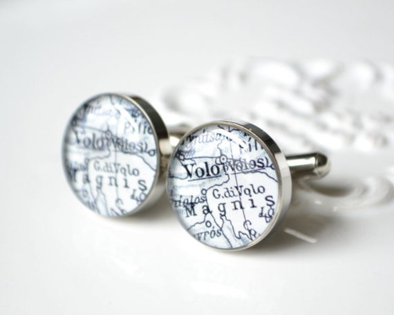 Volos Greece Cufflinks -  Keepsake gift for the groom groomsmen father of the bride on your wedding day by white truffle