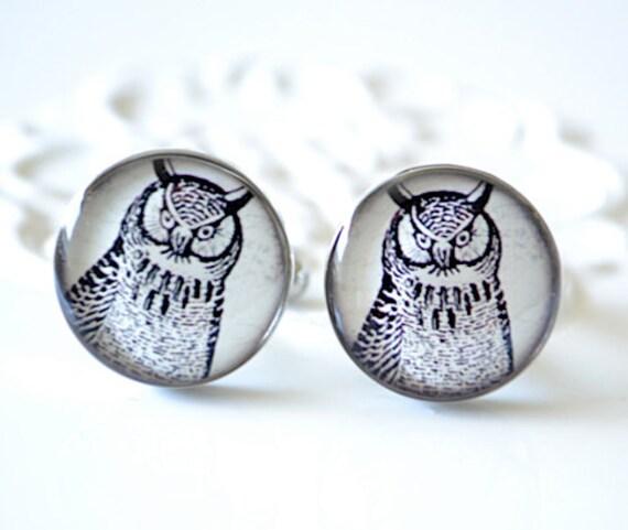 Little Owl Cufflinks - Keepsake gift - Wedding day cuff links for the groom and groomsmen