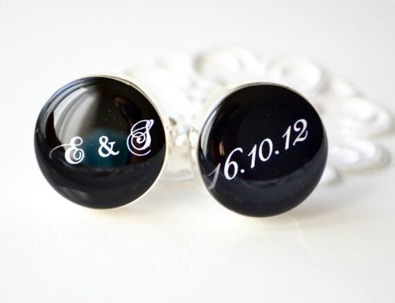 Script initial and date cufflinks by White Truffle - wedding day keepsake gift groom and groomsmen