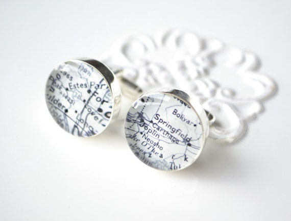 Custom vintage map cufflinks - select your destination and we do the rest - gift for him, groom, groomsmen, wedding, birthday, men, father