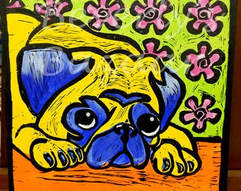 Custom Pet Portraits Yellow and Blue Pug Painting & Printmaking