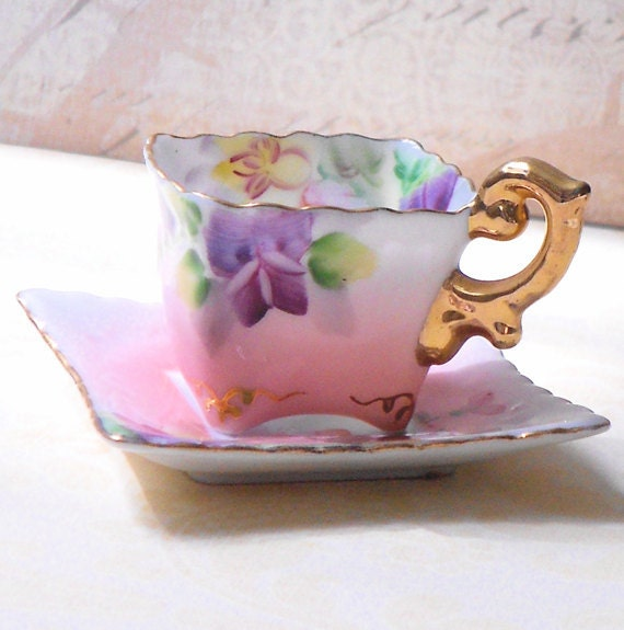 Vintage Miniature Bone China Tea Cup with Saucer Occupied Japan