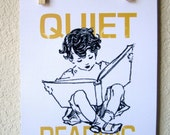 Child Quietly Reading Word Picture Print--On Textured Cardstock 8 1/2 X 11