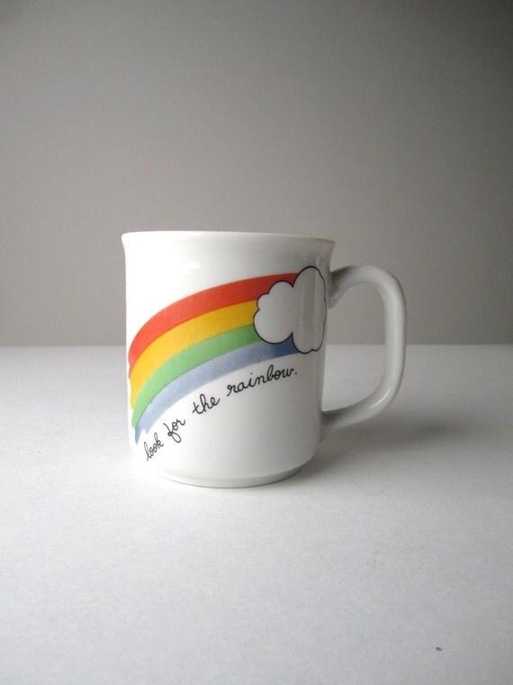 Vintage Rainbow Cloud White Ceramic Coffee Mug