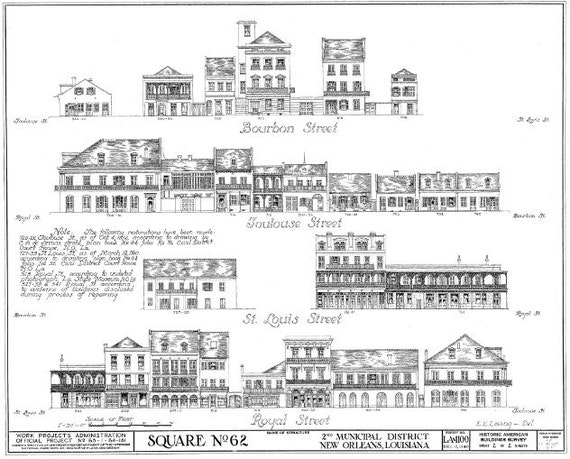 """French Quarter Architectural Drawing Blueprint Giclee Print 18"""" x 24"""""""