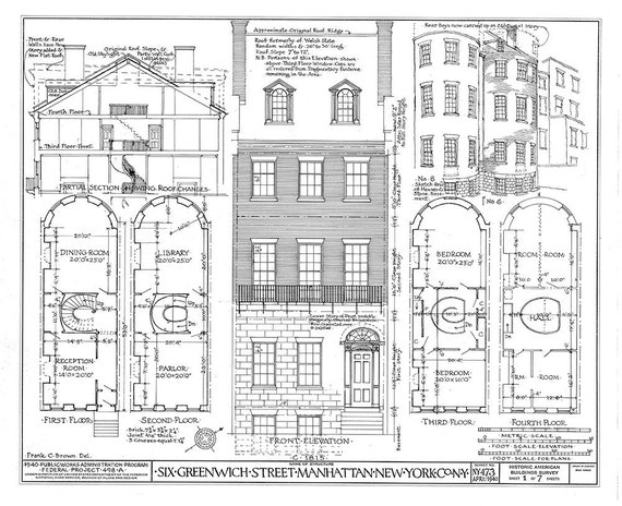 6 greenwich street manhattan ny architectural print blueprint for Print architectural drawings